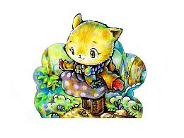 《猫的故事》-封皮折页小插画
