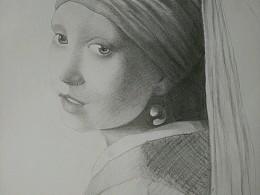 素描名画系列-戴珍珠耳环的少女