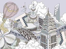 """上海地铁2号线万科unicity""""天空之城""""TOD项目插画"""