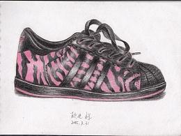 手绘斑马纹皮质运动鞋