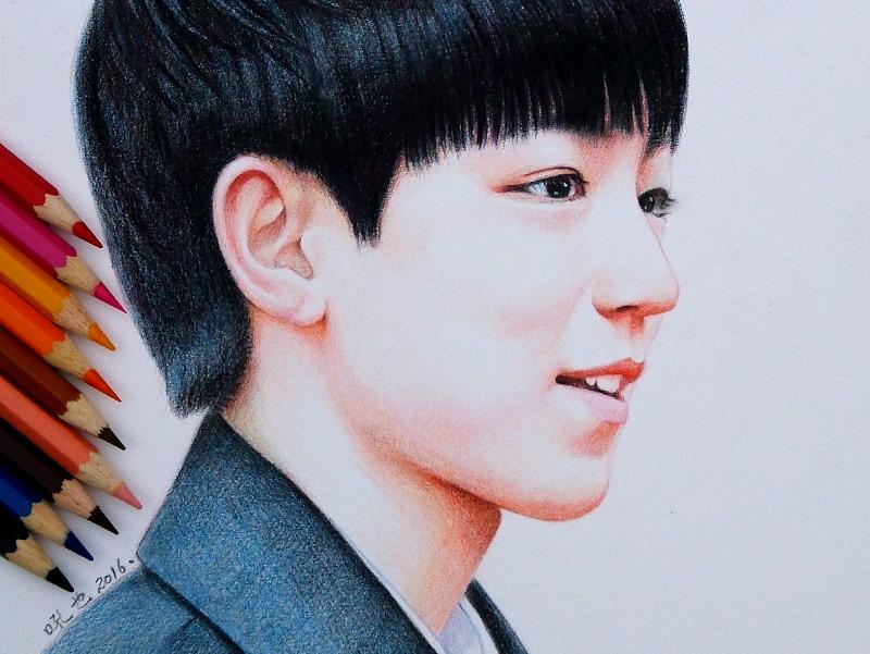 tfboys 王源王俊凯易烊千玺 彩色铅笔画 吼也手绘 发布时间:2016/02