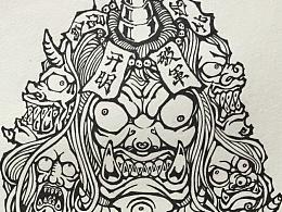 山海经·开明兽 (纯手绘)