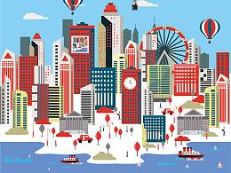 矢量城市插画