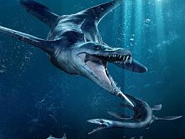 侏罗纪世纪苍龙捕食合成海报psd