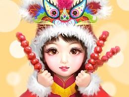 《虎头娃娃》春节肖像插画