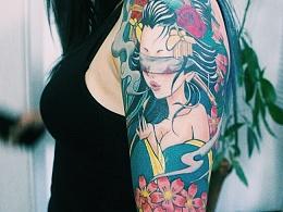老徐的纹身作品-有艺妓的日式花臂