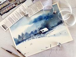 小花的水彩~雪中小屋~