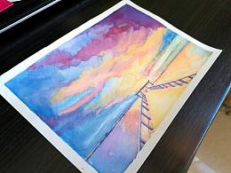 手绘水彩风景