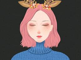 原创森女系列插画