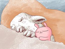 冷兔小清新插画