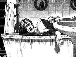 《推理世界》黑白插画 第九发
