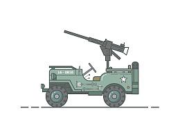 二战军车插画设计