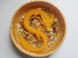 金箔聚宝龙盆 琥珀绘