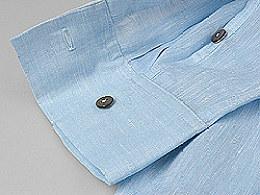 本朴新中式·设计师款春款纯亚麻色织盘扣大V领长袖男装衬衫