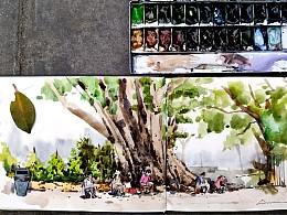 城市速写-广州-革新路   画画写生
