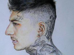 彩铅纹身男模