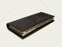 KOUTEN纯手工设计/意大利荔枝纹牛皮+蟒蛇皮+羊皮大容量长钱夹