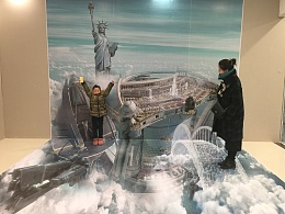 北京3D立体画3D墙地结合作品 自由国度