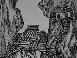 臧金龙钢笔画专利技法作品《天之道》