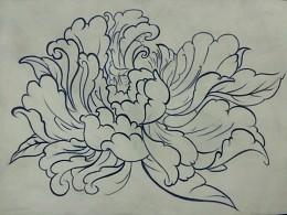 纹了一朵牡丹花
