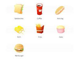 食物图标,哈,我暂时就想到这些好吃的,做套图标。