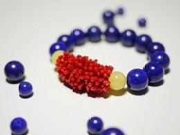 DIY红珊瑚、青金石、蜜蜡配珠手串
