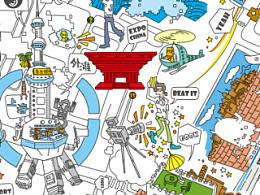 为上海建交委设计的城市插画