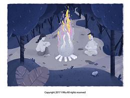 【主题插画】黑夜里的篝火