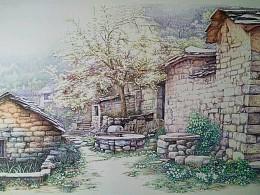 汤向的彩色钢笔画《晨曦》75x50厘米800g卡纸