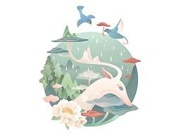 山生万物 包装图案设计 罗雨舒插画