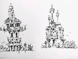 钢笔建筑风景速写