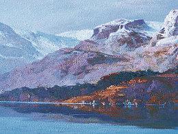 油画作品《雪山•湖》