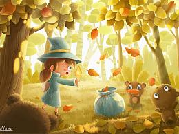 《秋天的小魔女》—收集落叶