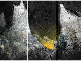 《月落喵山》水墨插画