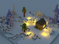 MagicaVoxel体素图——雪夜图