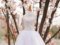MINI唯美白色婚纱摆件芭比