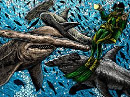 深海系列——遇见锤头鲨(手绘过程)