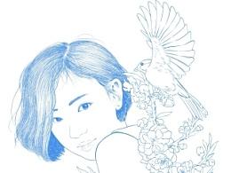 楚歌钢笔画-头像系列 短发妹纸