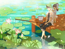 夏日钓虾插画