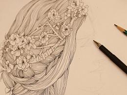 绘画创作 | 花女