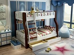 实木子母床