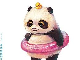 【萌宠 by 雪娃娃】清凉一夏,熊猫游泳自带游泳圈