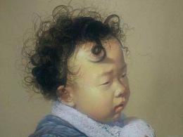 色粉笔-儿童素描头像