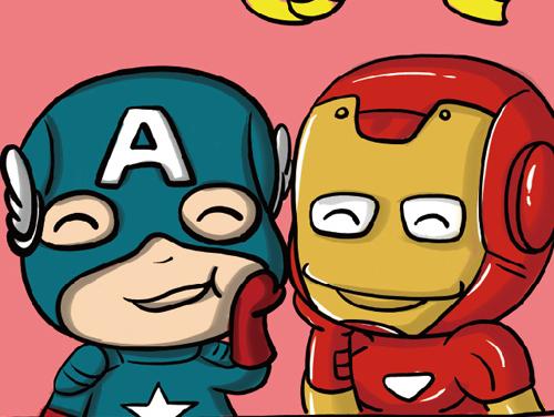 复仇者联盟卡通版 手绘卡通超级英雄 钢铁侠 美国队长 雷神 黑寡妇