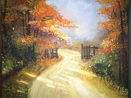 油画 枫叶 秋天 枫树林