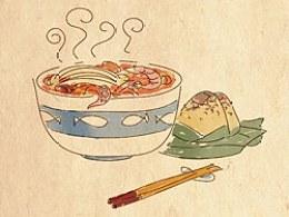 手绘食谱《沙茶面》