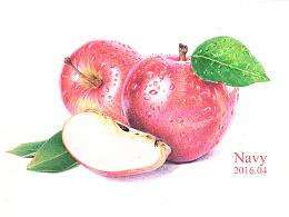圆珠笔画--红苹果