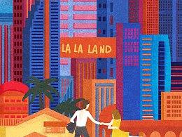 情人节,给电影LaLaLand爱乐之城的插画