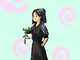 抱着花盆的姑娘