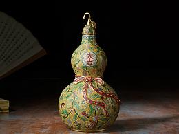 铜师傅 全铜摆件 《鎏金珐琅葫芦之一》工艺品 家居饰品 礼品 摆件